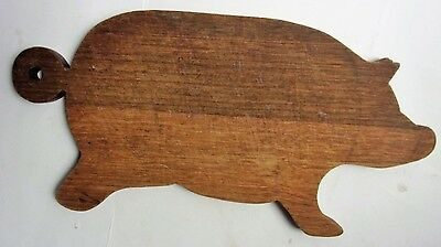 Antique American Folk Art Primitive Carved Wood Slab Pig Cutting Board Huge 20""