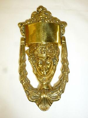 Vtg Solid BRASS DOOR KNOCKER Roman Greek Face Plate for Engraving Door Hardware