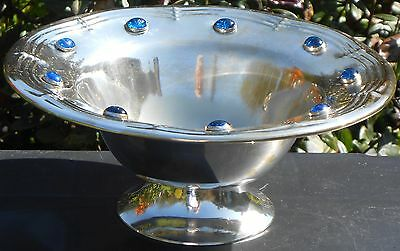 Vintage Silver Plated Fruit Bowl With Blue Glass Cabochons