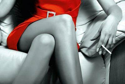 New Lady in Red Black and White Beauty Poster