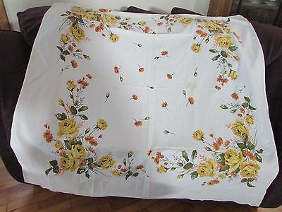 Vintage Tablecloth Cutter Craft Yellow Roses Orange Flowers 45 X 51