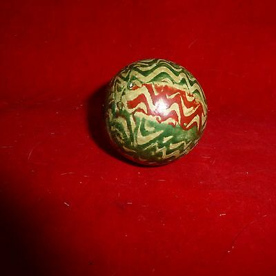 "Rare - Ca 1870 Native American Indian Ornate Hand Painted 2"" Wood Lacrosse Ball"