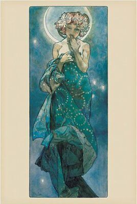 New Moon By Alphonse Marie Mucha Poster