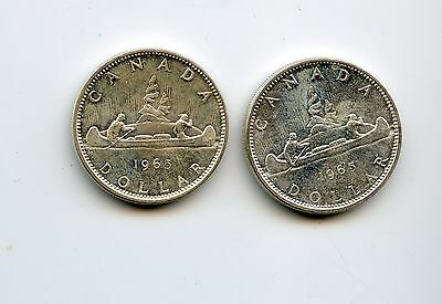 1965 (2) Silver Canadian Dollars