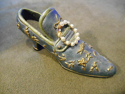 Old Fashioned Loafer Style Shoe Heel, Blue Gold Faux Pearls Decorative Figurine