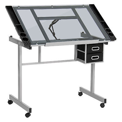 Drawing Desk Station Tempered Glass Adjustable Drafting Table W/ Wheels