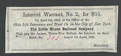 $35 Little Miami Railroad Company Ohio 1858 Interest Warrant Old Paper Note Bill