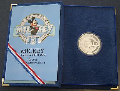 1988 Mickey Mouse Steamboat Willie Disney Proof 1 oz 999 Silver Round BOX & COA
