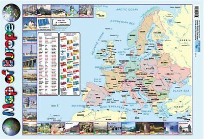 New Map Of Europe Educational Map Mini Poster