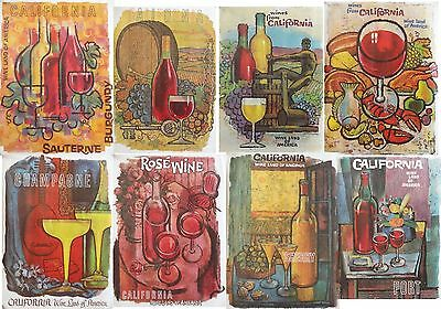 9 Different Vintage 1960's California Wine Advisory Posters by Amado Gonzalez