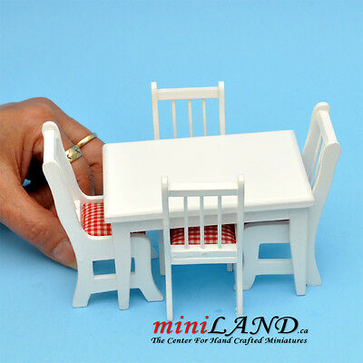 SALE - 5 pcs Kitchen table with chairs White dollhouse miniature 1:12 wood