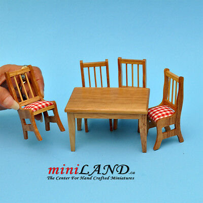 SALE - 5 pcs Kitchen table with chairs OAK dollhouse miniature 1:12 wood