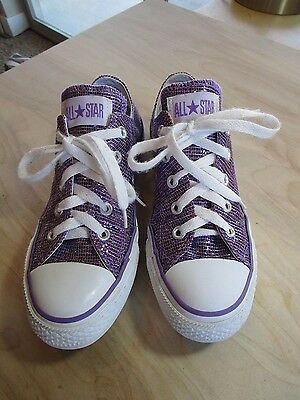 Converse All Star Classic Purple Sparkle Lace Up Sneakers Size Women 6 EU 36.5