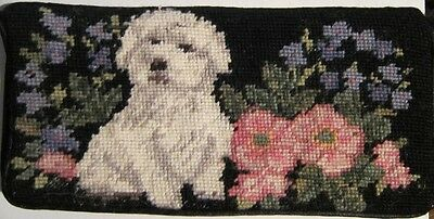 NP check MALTESE Needlepoint Checkbook Cover CLEARANCE SALE