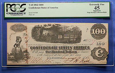 1862 $100 Confederate States of America PCGS XF 45
