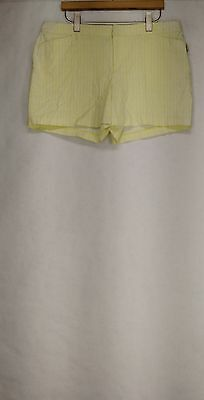 Attention Sz 14 Flat Front Bright Yellow / White Shorts NEW 2nd