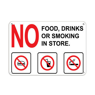 Horizontal Metal Sign Multiple Sizes Notice Food Drink Prohibited in This Area