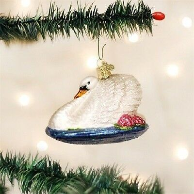 Old World Christmas MONETS SWAN Blown Glass Ornament Retired 2015