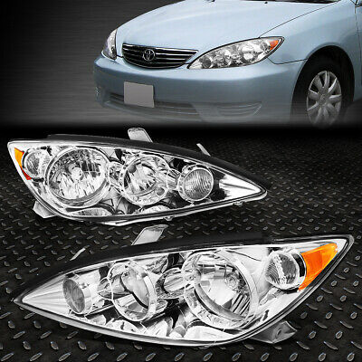 For 2005-2006 Toyota Camry Pair Chrome Housing Amber Corner Headlight/lamp Set