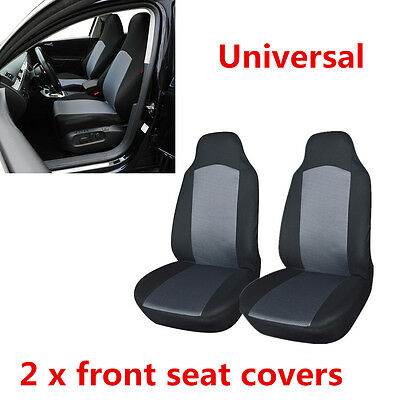 Fashionable 2x Car Front Seat Covers Protectors Built-in Seat Belt Grey & Black