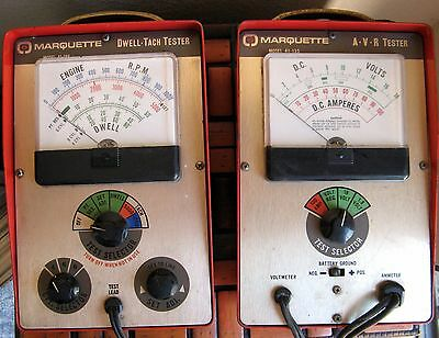 Vintage set of Marquette Dwell Tach Tester 41-188 & A.V.R. Tester 41-138   AB1