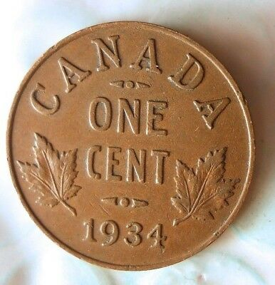 1934 CANADA CENT - Excellent Collectible Coin- FREE SHIPPING - Big Canada Bin