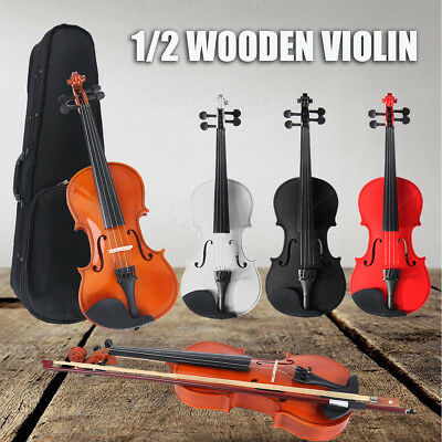 1/2 Acoustic Violin Portable Fiddle with Bow Rosin Carry Case For Child Beginner