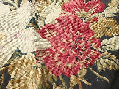 Antique needlework tapestry chair cover seat base floral fine work