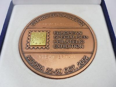 Rare Large 18ct Gold & Copper European Philatelic Award Medallion Cyprus 2002
