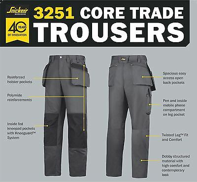 Snickers Basic Craftsman Work Trousers- Steel Grey/Black Various Sizes 3251