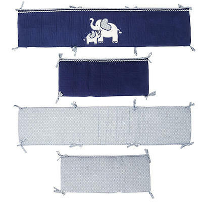 New Koala Baby First Love 4 Piece Crib Bumper Set - Elephant - Navy/Light Blue