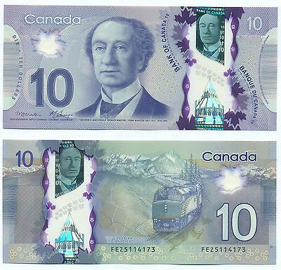 Canada Polymer Note 10 Dollars 2013 P New Unc