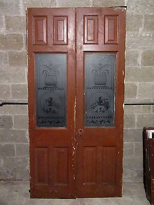 ~ ANTIQUE ETCHED GLASS DOUBLE FRENCH DOORS ~ 46 x 91 ~ ARCHITECTURAL SALVAGE