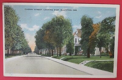 Antique Vtg Postcard-Cherry Street Looking East-Bluffton Indiana