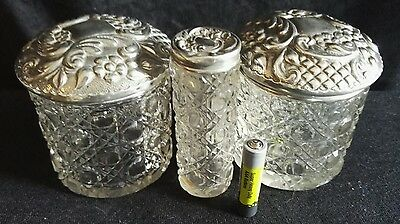Antique Victorian Art Nouveau Hallmarked Solid Silver dressing table jars x 3