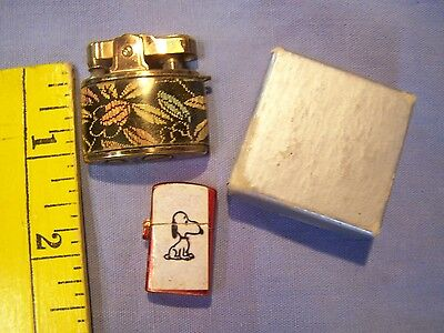 2 Vintage Mini Lighters Made In Japan (1) Snoopy (1) Art Deco Lighter In Box