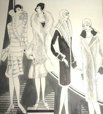 2 1929 ARt Deco Womans Fashion Advertising Boards Gimbels Dept Store Milwaukee
