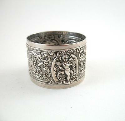 Antique Victorian Embossed Cherub  Silver Napkin Ring Wakely Wheeler 1899 London
