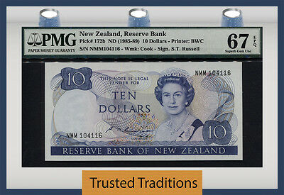 "TT PK 172b 1985-89 NEW ZEALAND 10 DOLLARS ""QUEEN ELIZABETH II"" PMG 67 EPQ SUPERB"