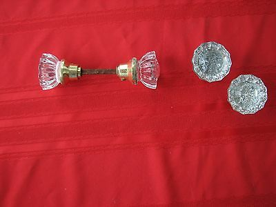 Vintage /Antique Door Knob Handle Set 12 Point Glass Brass 4 Knobs One Shaft