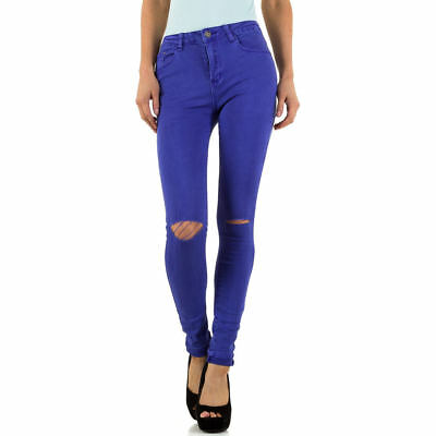 DESTROYED HIGH WAIST SKINNY DAMEN JEANS XL/42 Violett 5300 0€