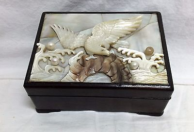 Old Chinese Carved Mop Wood Box High Relief Eagle Pearls Snuff Trinket Inlay