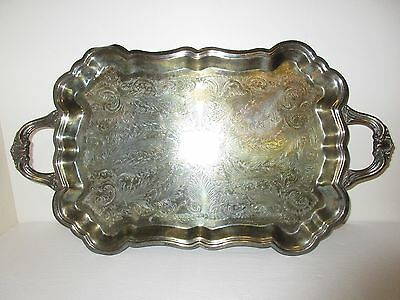 Antique F.B. Rogers Silver Co. Large Handled Footed Butlers Serving Tray