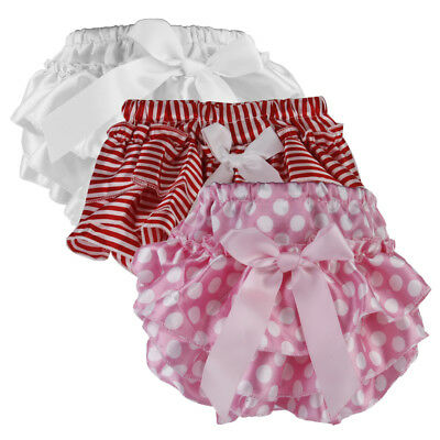 3pc Infant Baby Satin Frilly Knickers Pants Bloomers Diaper Nappy Cover 0-2Y