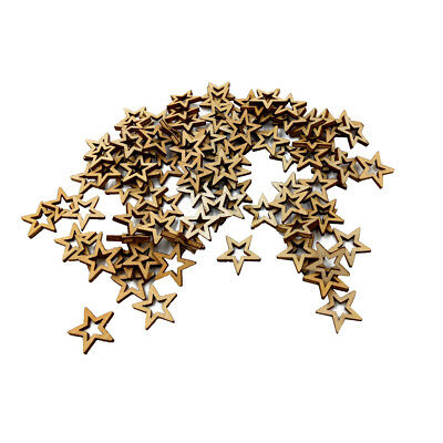 200pcs 10/20mm Unfinished Hollow Stars Wooden Shape Embellishment DIY Craft