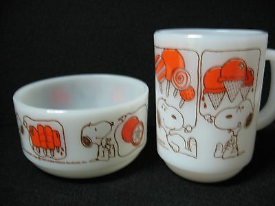 LOT 2 =1+1 SNOOPY mug + bowl = Anchor Hocking Lollipop popsicle ice cream orange