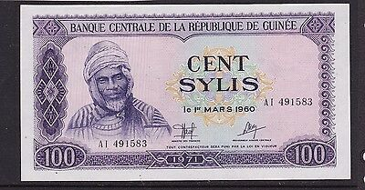 Kappyscoins Id10188 French Guinea P19 100 Sylis Bank Note Gem Crisp Unc