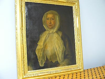 Antique Gilt Newcomb Macklin Type Frame W/ 19Th Century Ancestral Oil Painting