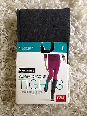 L Gray Opaque Womens Tights Footed New Large NWT Control Top