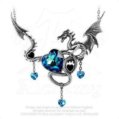 Welsh Dragon Necklace Alchemy Gothic Draig O'Gariad Necklace Wild Celtic Passion